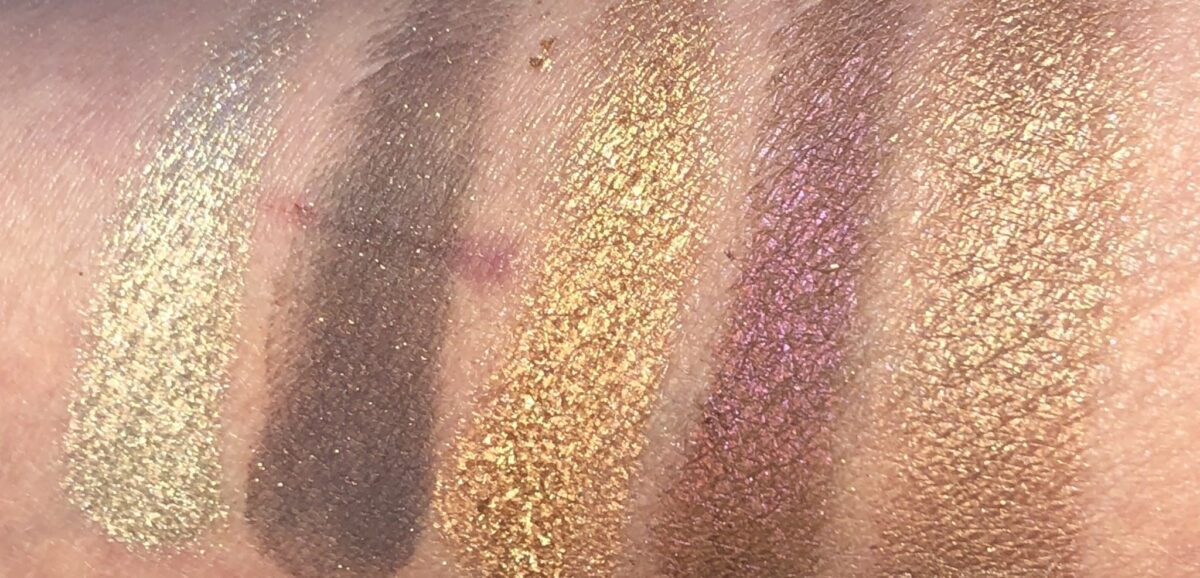 FROM LEFT TO RIGHT SWATCHES ARE SINFUL, ILLICIT, GOLD NECTAR, CORRUPTION, AND SEXTROVERT SWATCHES
