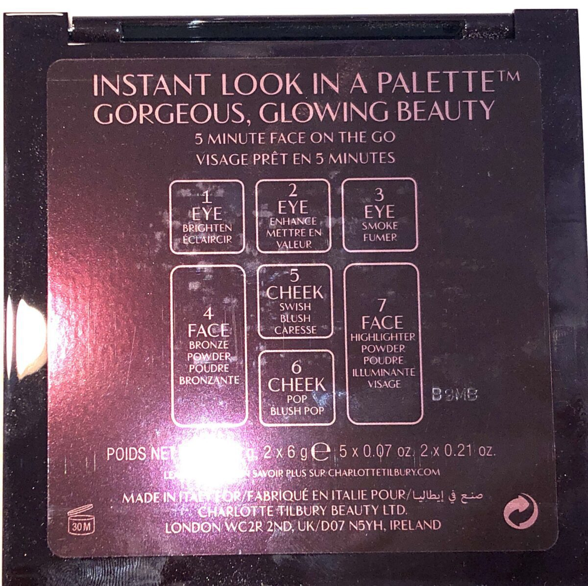 THE GORGEOUS GLOWING INSTANT FACE PALETTE SHADES ARE NUMBERED