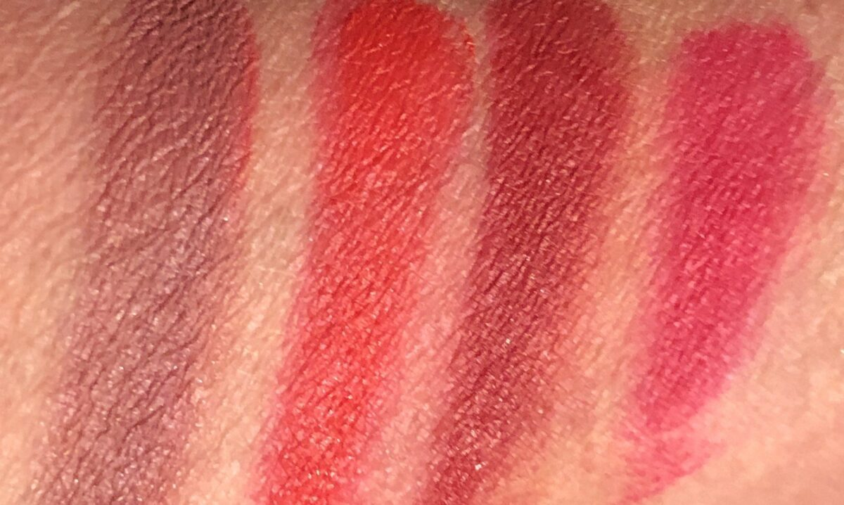 SWATCHES RIGHT TO LEFT: FUCHSIA, BRICK, TOMATO RED, AND WARM DUSTY ROSE