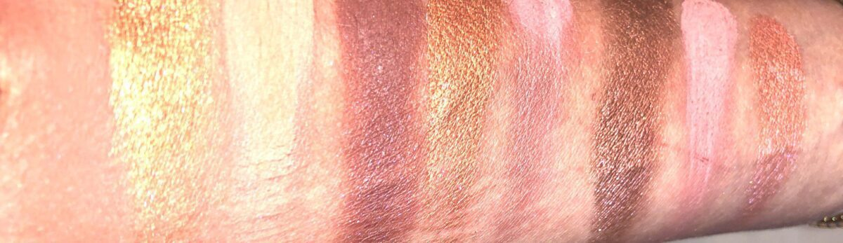 HUDA NUDE OBSESSIONS EYE PALETTE IN MEDIUM NUDE SWATCHES FROM LEFT TO RIGHT, ALL THREE ROWS