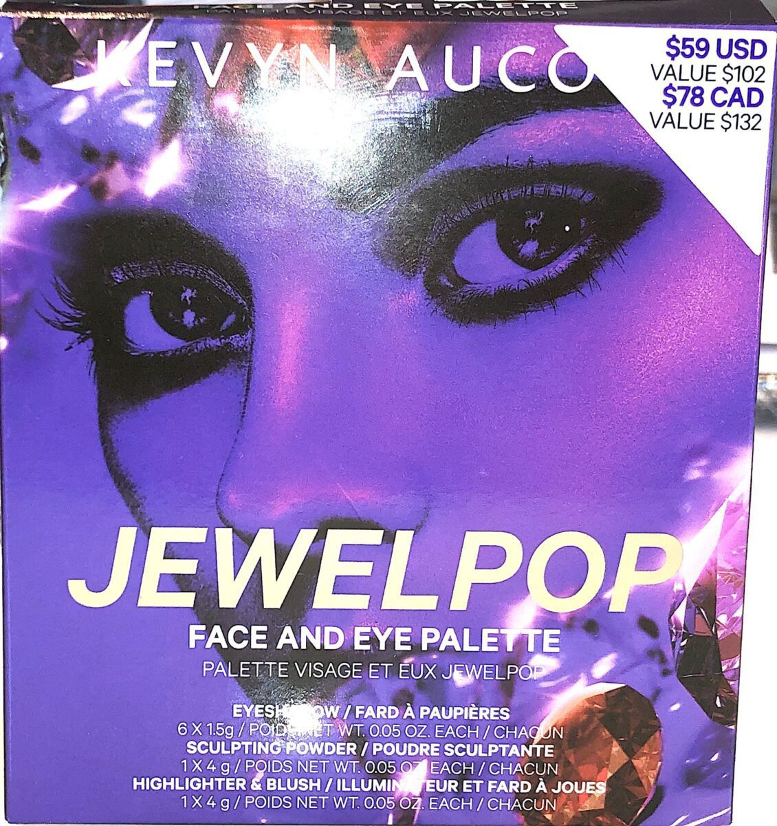 THE OUTER PACKAGING FOR THE KEVYN AUCOIN JEWEL POP PALETTE FOR FACE AND EYES