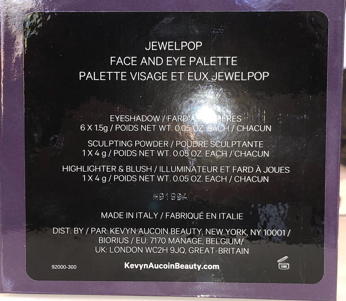 THE BACK OF THE KEVYN AUCOIN JEWEL POP PALETTE