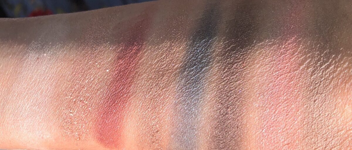 SWATCHES OF THE KEVYN AUCOIN JEWEL POP PALETTE LEFT TO RIGHT:MOONSTONE, CITRINE, RUBY, TOPAZ, EMERALD, MAHOGANY AND BLUS /HIGHLIGHTER IN ROSE QUARTZ, AND MEDIUM CONTOUR SHADE