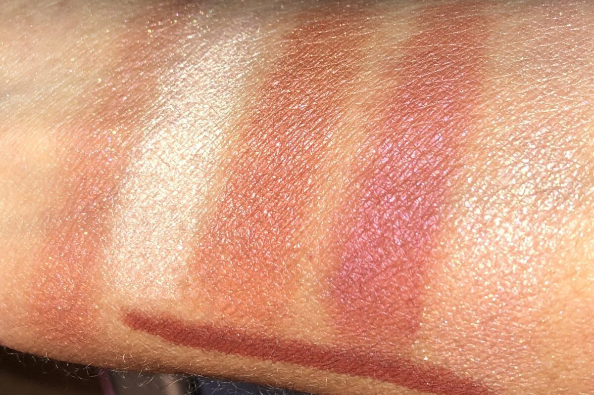 Left swatch Walk of No Shame Jewel Pot, Right 4 shades from the Quad Palette, and on the bottom Walk Of No Fame the eyeliner