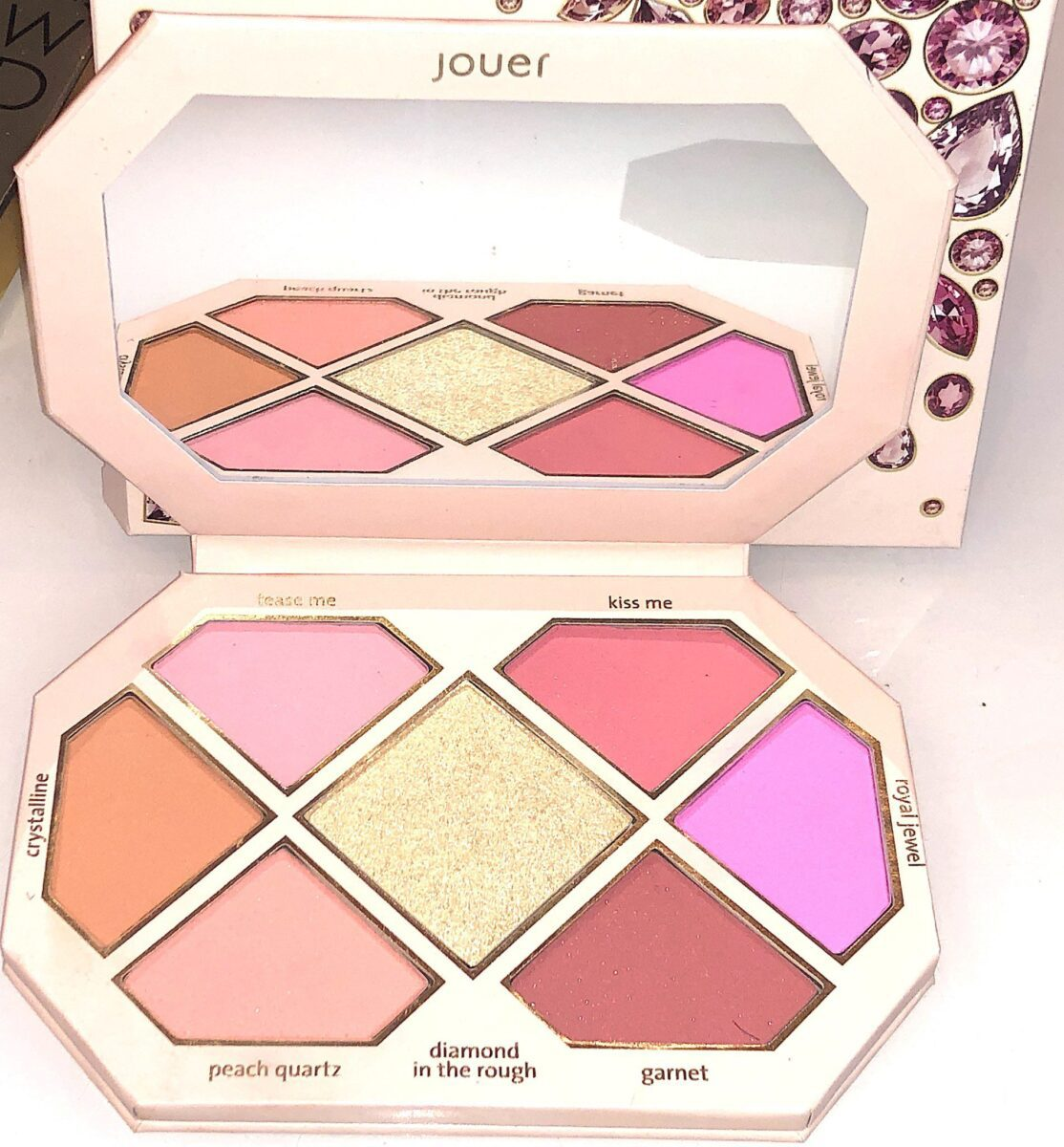 THE FOUR NEW SHADES IN THE JOUER ROSE CUT GEMS BLUSH PALETTE ARE CRYSTALLINE, GARNET, PEACH QUARTZ AND ROYAL JEWEL