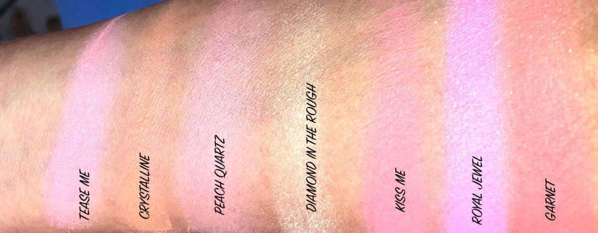 JOUER ROSE CUT GEMS BLUSH PALETTE SHADE SWATCHES