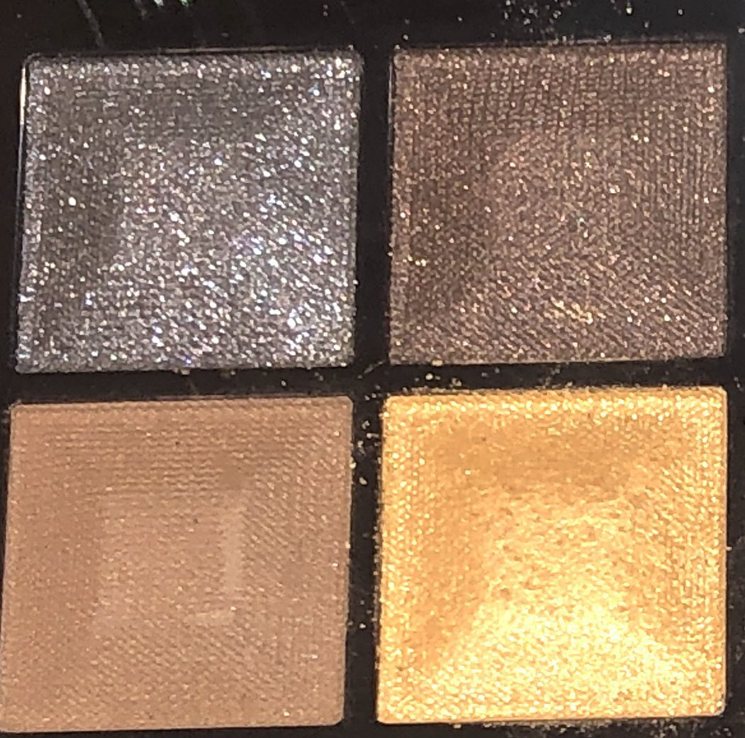 THE FOUR SHADES ON THE LEFT SIDE OF THE GIVENCHY RED EDITION EYESHADOW PALETTE