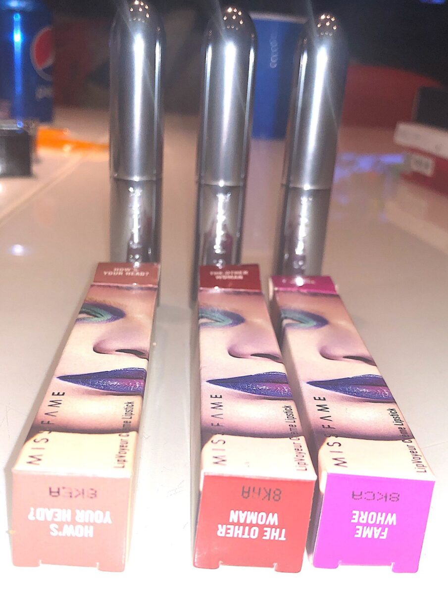 OUTER PACKAGING AND LIPSTICK TUBES FOR MISS FAME VOYEUR CREAM LIPSTICK