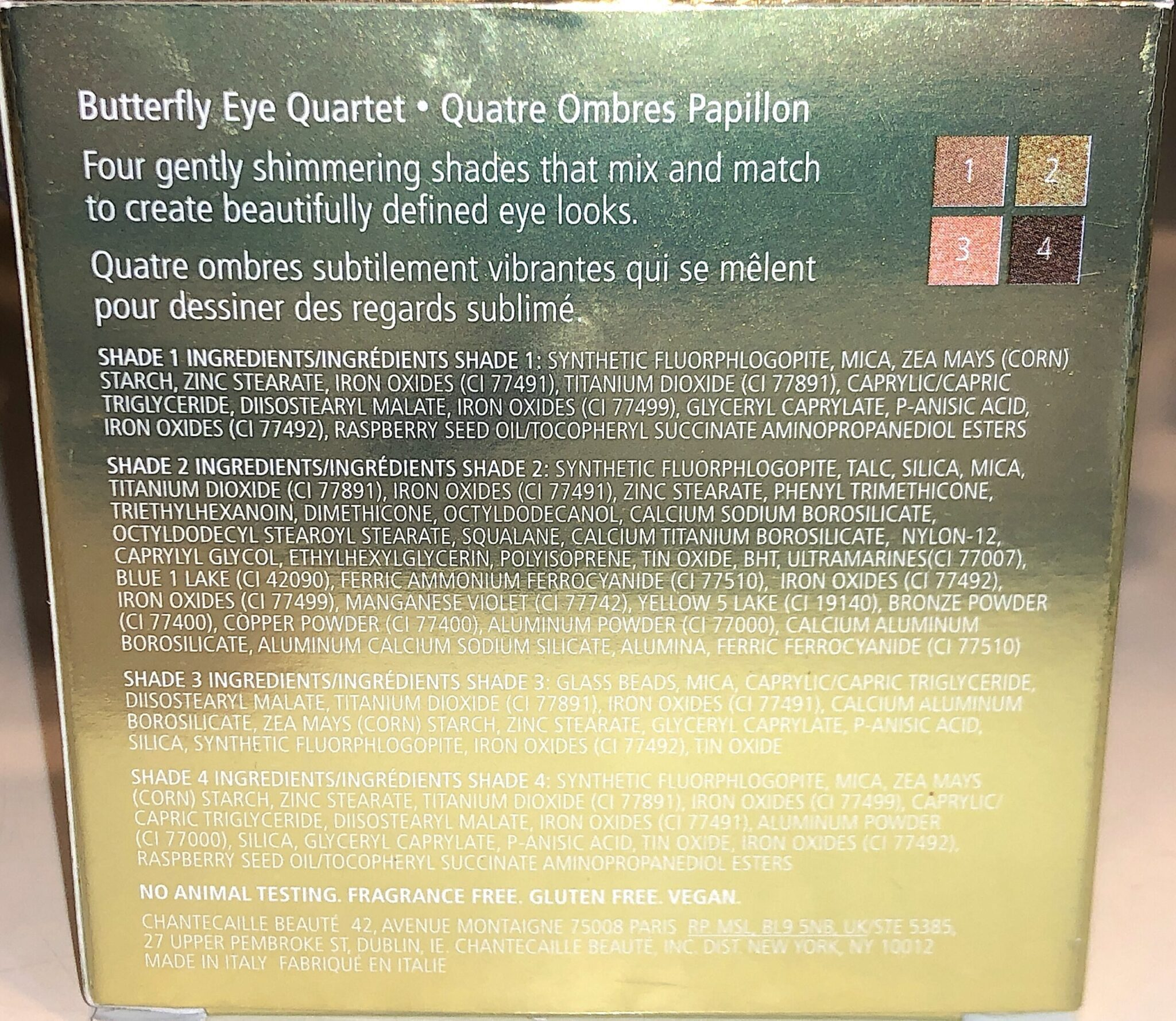 CHANTECAILLE SPRING BUTTERFLY COLLECTION BUTTERFLY QUARTET EYESHADOW PALETTE INGREDIENTS