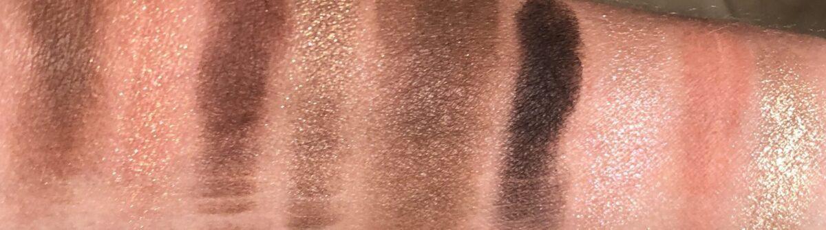 swatches of the Huda Haze Khaki Eyeshadow Palette