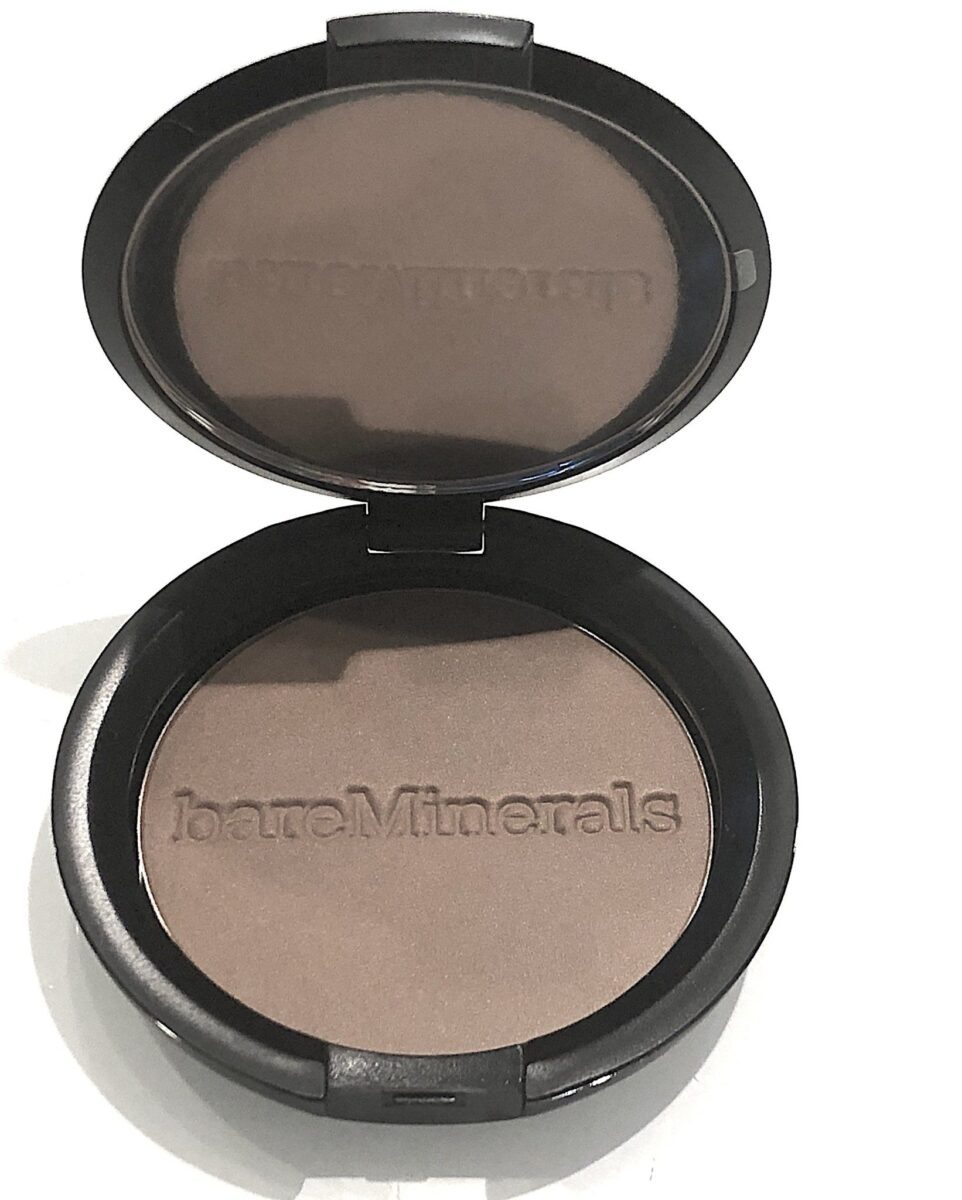 BAREMINERALS ENDLESS SUMMER WARMTH COMPACT OPENED, MIRROR, EMBOSSED POWDER