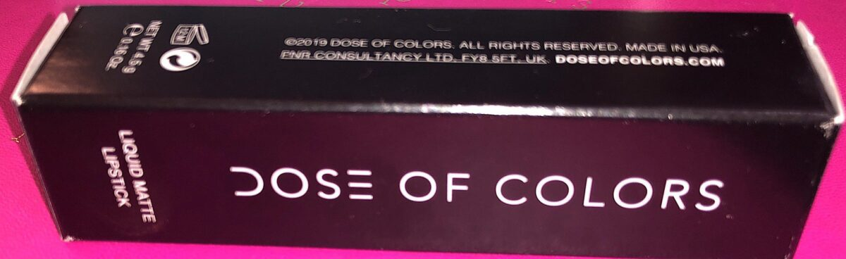 DOSE OF COLORS LIQUID MATTE LIPSTICK OUTER BOX
