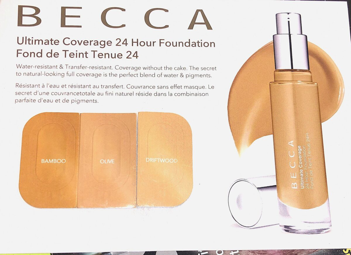 THE BOXY CHARM NOVEMBER 2019 BOX INCLUDED THREE BECCA ULTIMATE COVERAGE 24 HOUR FOUNDATION SAMPLES, THAT HAD ALL THE INFORMATION ON THIS NATURAL LOOKING, FULL COVERAGE, WATER AND TRANSFER RESISTANT FOUNDATION