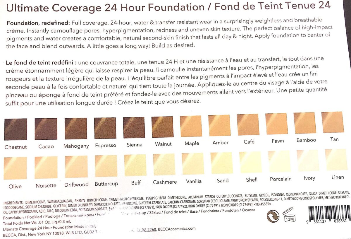 THE BACK OF THE BECCA 24 HOUR ULTIMATE COVERAGE FOUNDATION CARD, WITH COLOR CHOICES AND INGREDIENTS LISTED