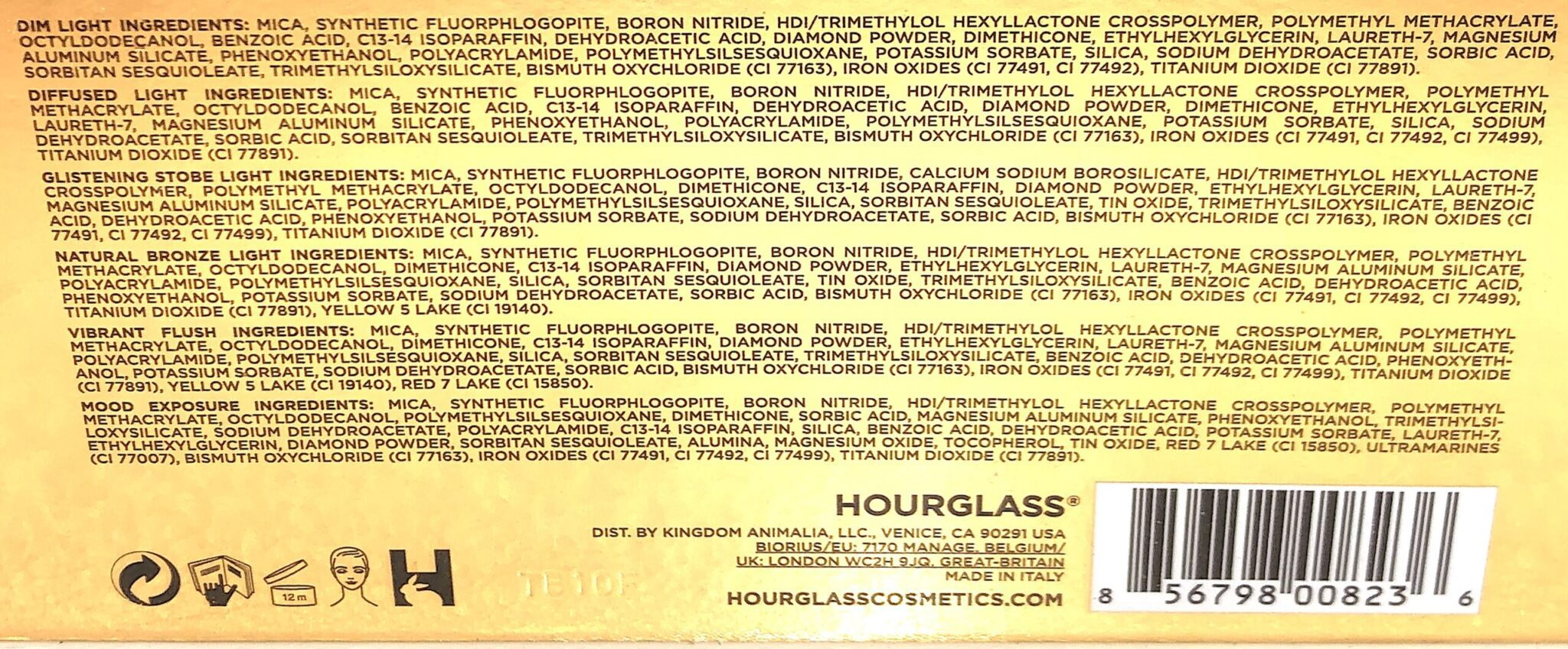INGREDIENTS FOR THE HOURGLASS AMBIENT LIGHTING EDIT SCULPTURE