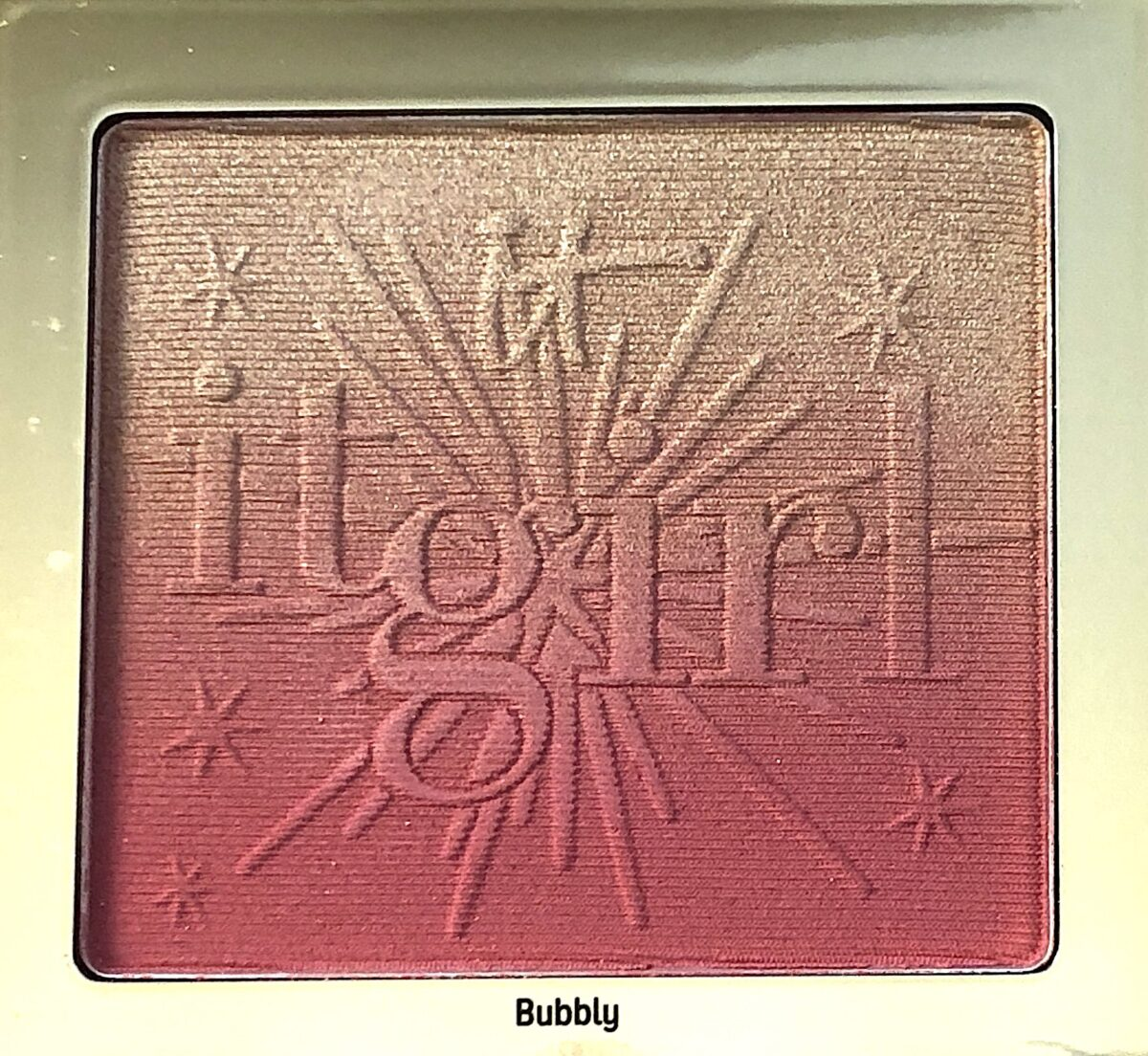 BUBBLY BLUSH IS AN OMBRE BLUSH WITH ROSE GOLD SHIMMER, LIGHT PINK AND MEDIUM PINK MATTE