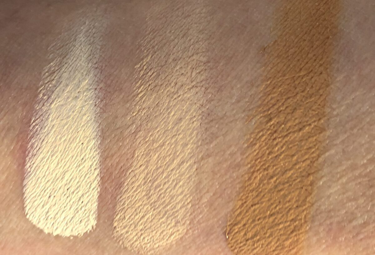 SWATCHES FOR THE CORRECTING CONCEALERS IN FAIR-LIGHT, MEDIUM TAN, AND TAN-RICH