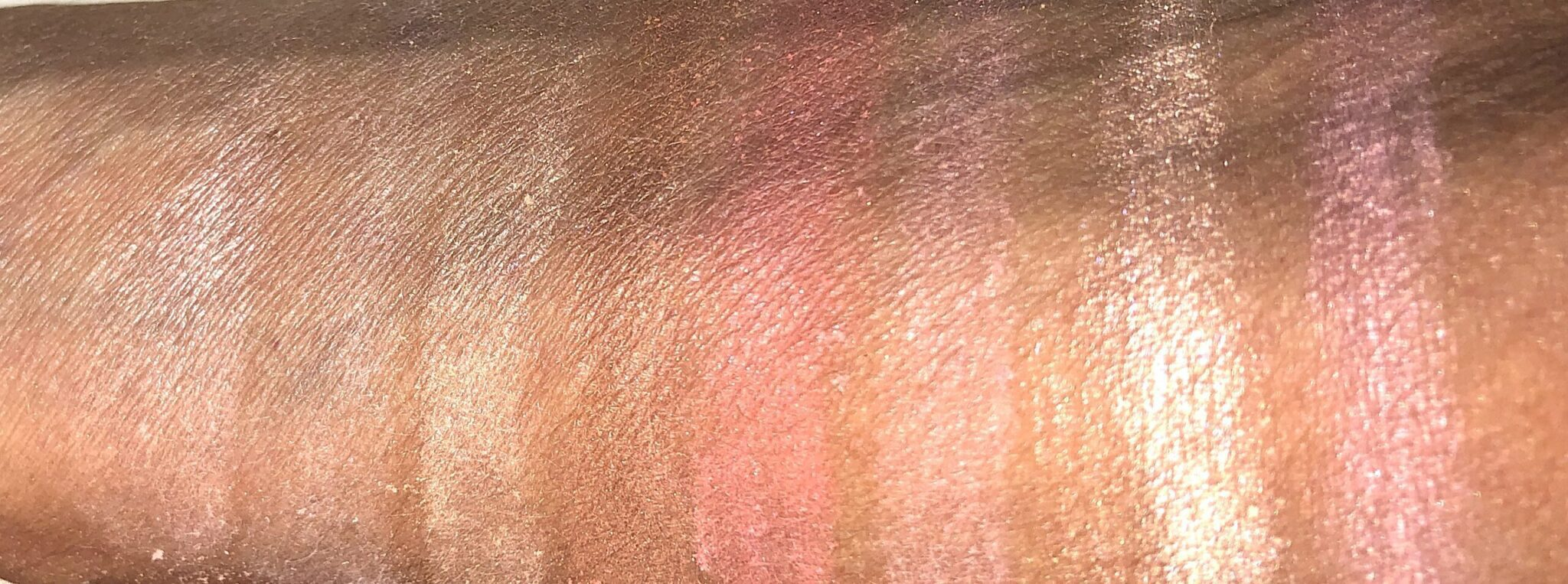 SWATCHES DIM LIGHT AND DIFFUSED LIGHT FINISHER POWDER, STROBE LIGHT HIGHLIGHTER, BRONZER FOR CONTOUR AND DEFINITION, BLUSH AND BLUSH FOR ROSY CHEEKS STROBE APPLIED WET, PLUM BLUSH APPLIED WET