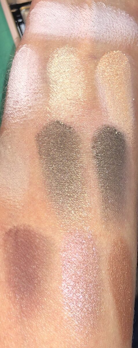 SWATCHES SHADOW FOUNDATION AND EYESHADOWS IN ORDER THEY APPEAR IN PALETTE