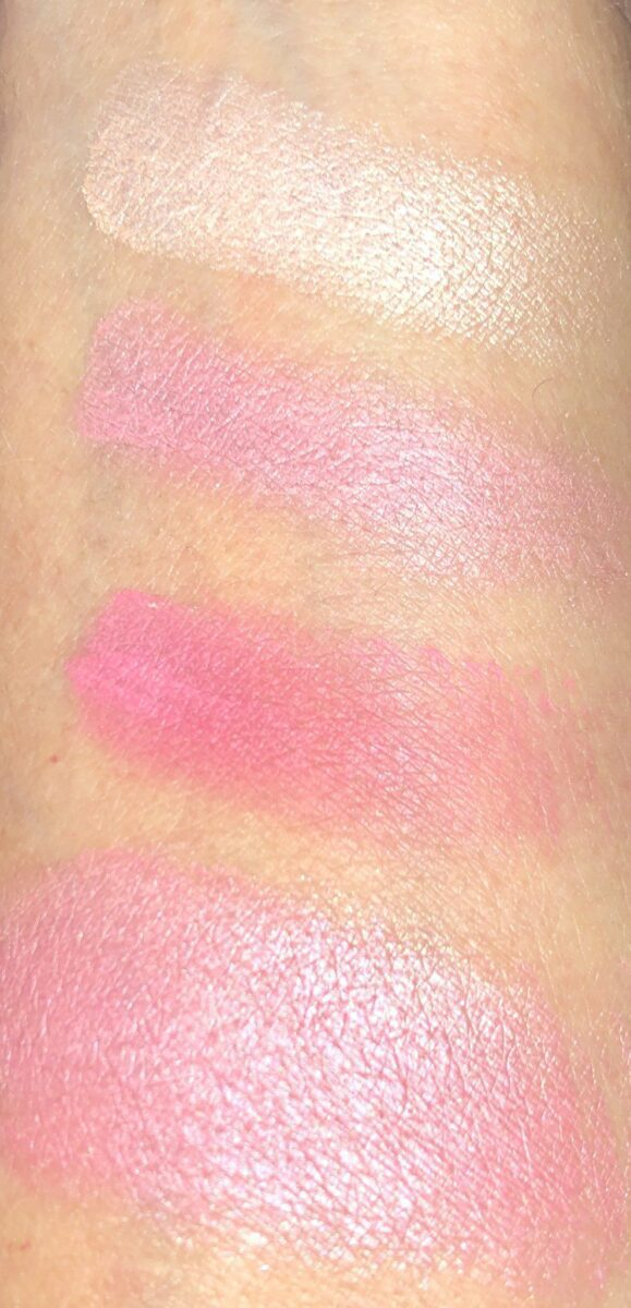 SWATCHES, ROSE GOLD ON TOP, THEN MEDIUM PINK, DARK PINK AND ALL THREE SWIRLED TOGETHER