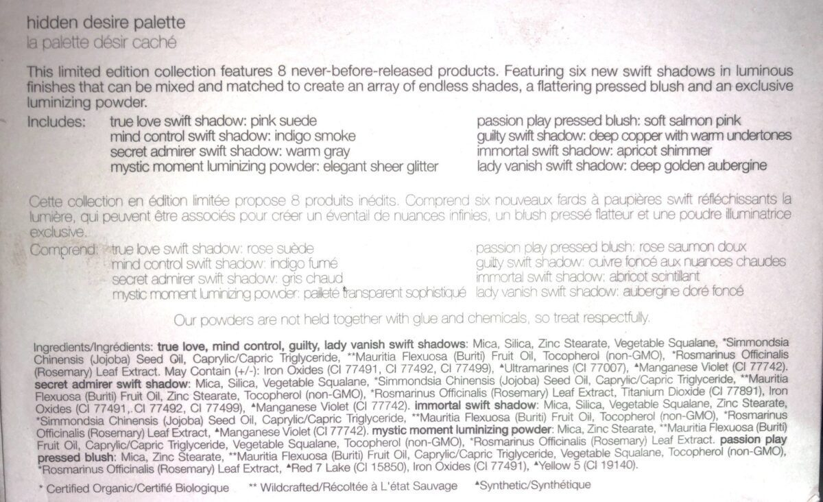 INGREDIENTS AND COLOR DESCRIPTIONS IN BACK OF THE RMS BEAUTY HIDDEN DESIRE PALETTE