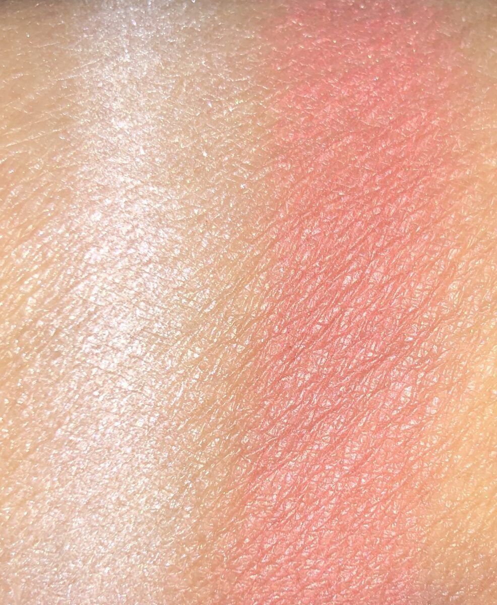 MYSTIC MOMENTS HIGHLIGHTER AND PASSION PLAY PRESSED BLUSH SWATCHES