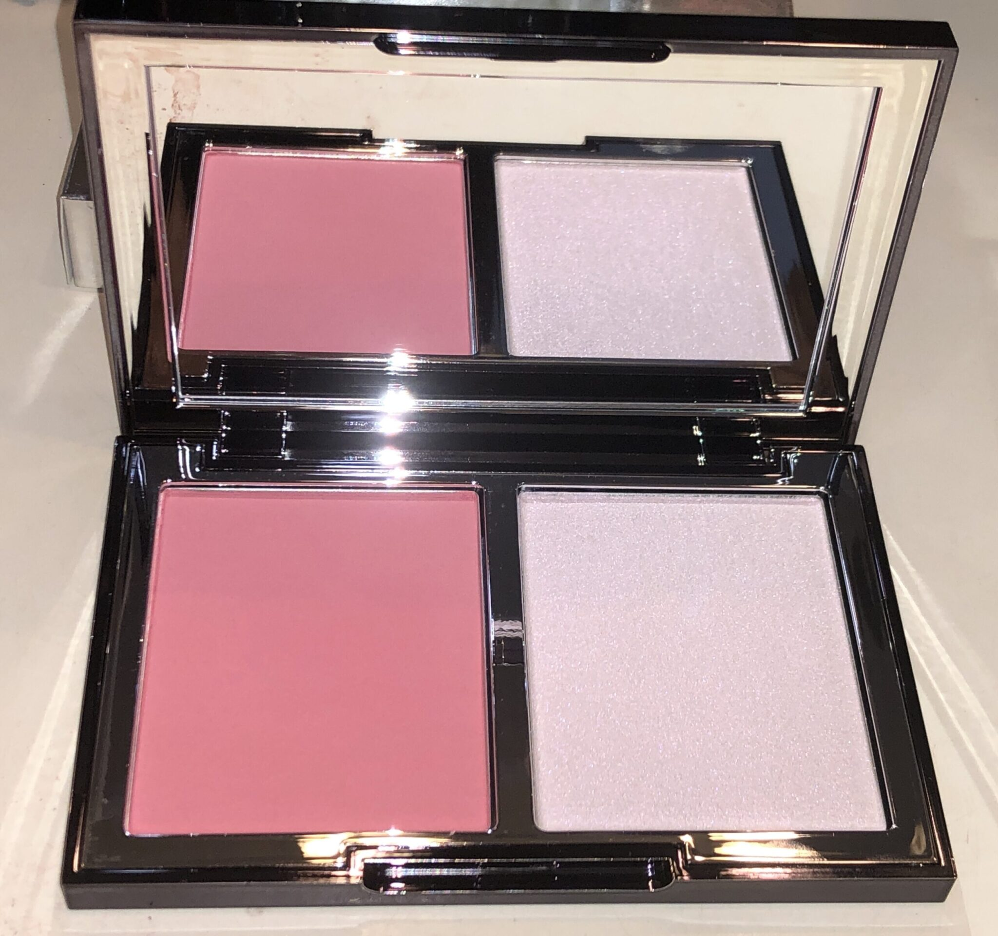 BLUSH PEONY: SWEETENED BLUSH ON LEFT, HIGHLIGHTER IN SHIMMER PINK