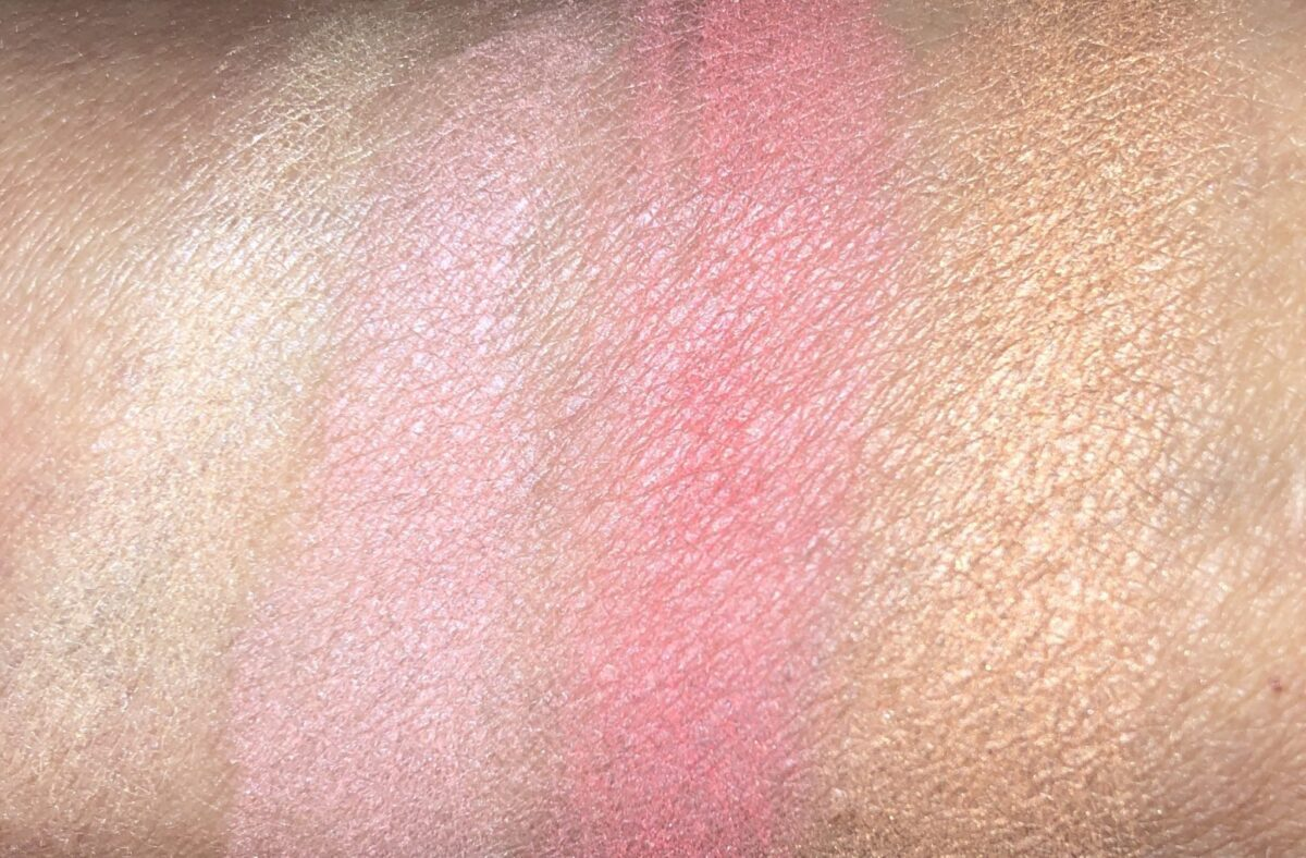 L TO R: SWATCHES ARE CHAMPAGNE BLSH, PINK PEARL, VIBRANT ROSE AND DESERT SPARKLE