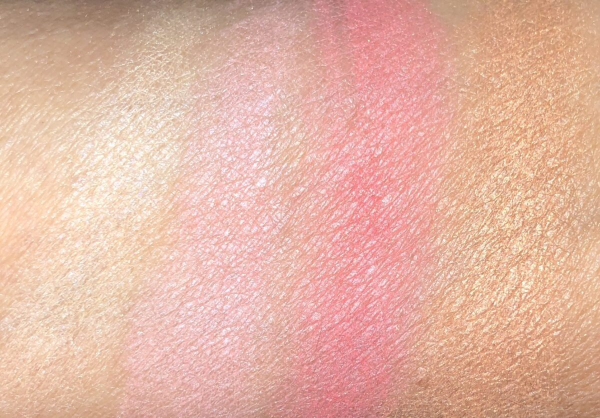 SUNNY FLASH SWATCHES L TO R: CHAMPAGNE BLUSH; PINK PETAL; VIBRANT ROSE; DESERT SPARKLE