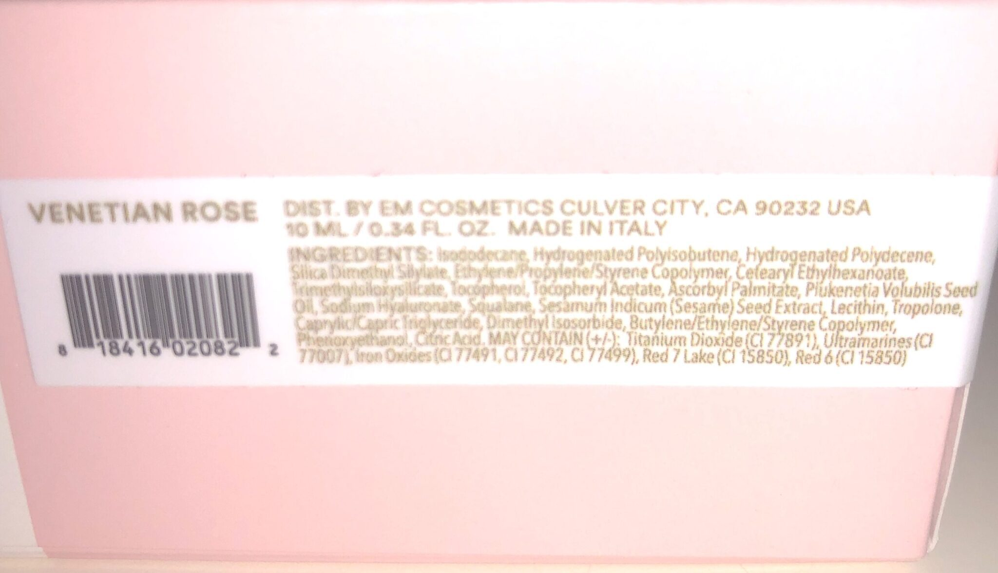EM Cosmetics Venetian Rose Collection Ingredients For The Color Drops Blush Serum