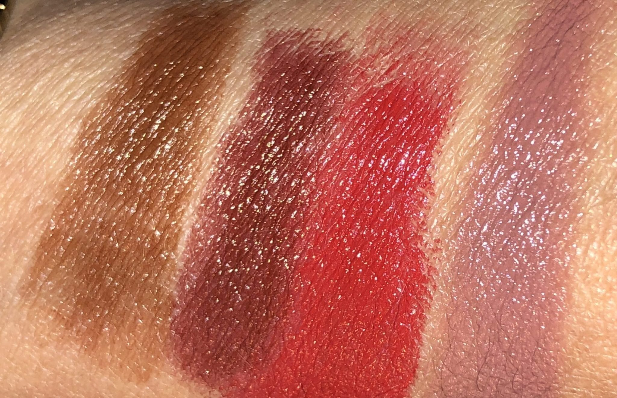 swatches l to r: fringe, play, VB red, pose