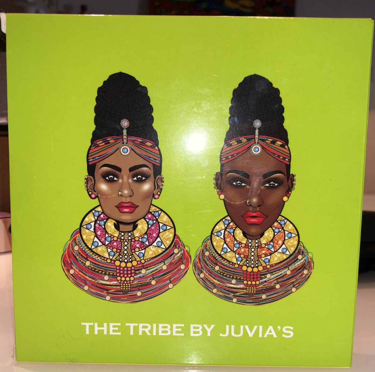 THE OUTER BOX FOR THE JUVIA'S PLACE THE TRIBE EYESHADOW PALETTE