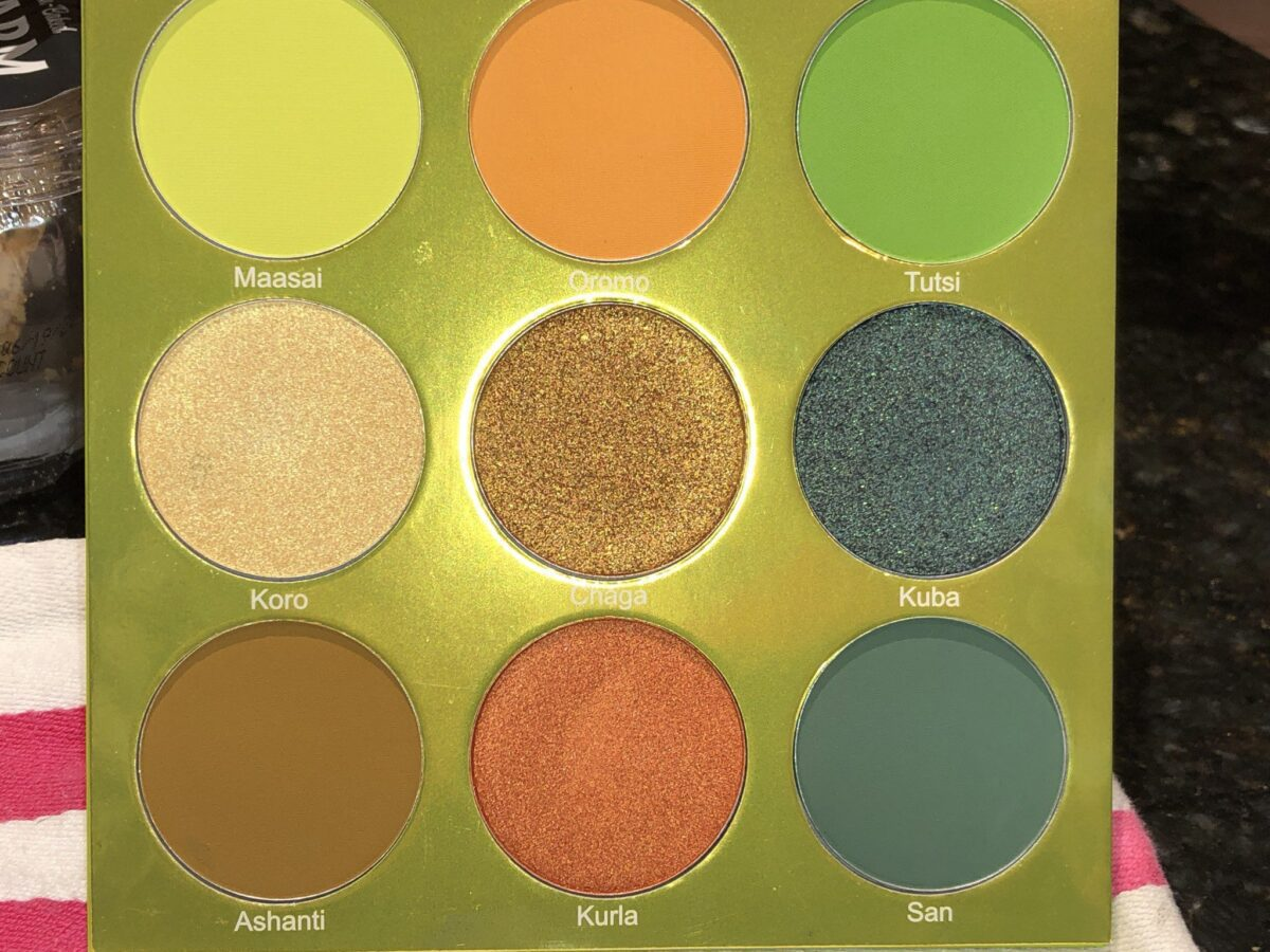 THE EYESHADOWS, AND THEIR NAMES IN THE JUVIA'S PLACE THE TRIBE EYESHADOW PALETTE