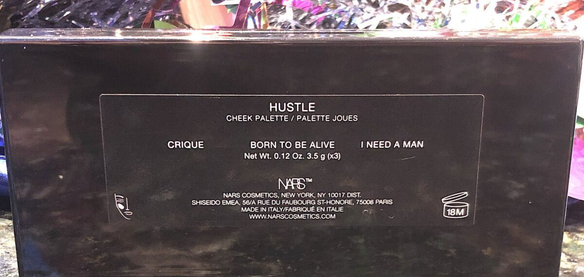 STUDIO 54 HUSTLE BACK OF THE COMPACT HAS THE SHADE NAMES WRITTEN ON IT
