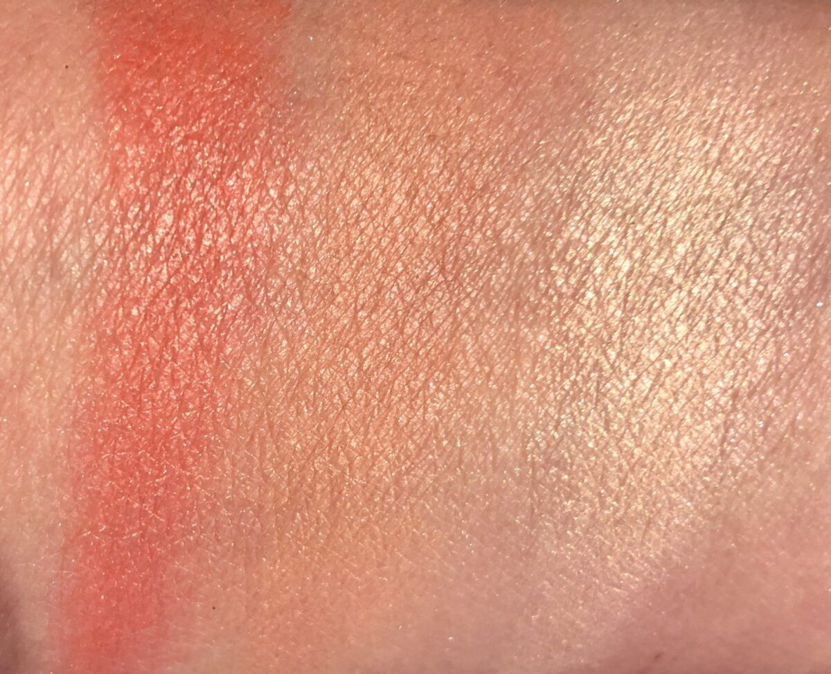 RIGHT TO LEFT SWATCHES : NARS CRIQUE HIGHLIGHTER, BORN TO BE ALIVE BLUSH, I NEED A MAN BLUSH