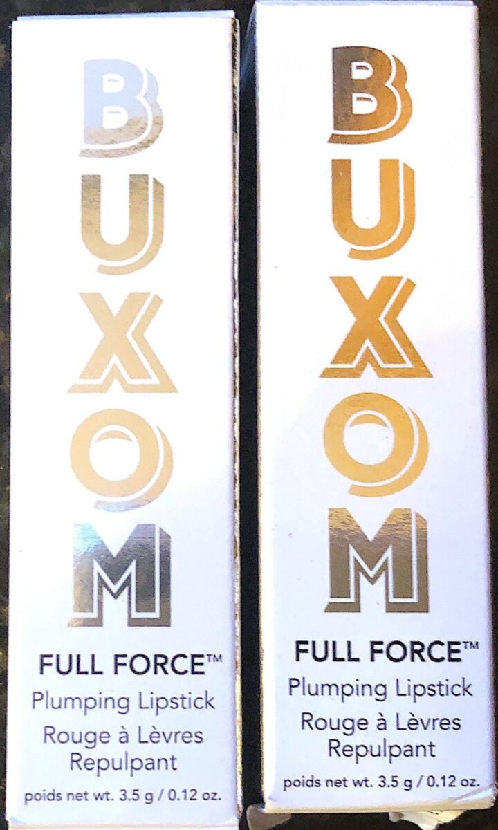 THE OUTER PACKAGING FOR THE BUXOM FULL FORCE LIP PLUMPING LIPSTICK
