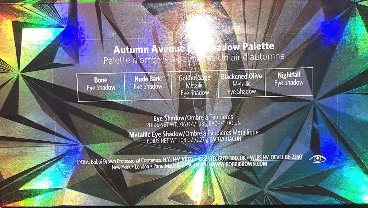 THE BACK OF THE BOBBI BROWN AUTUMN AVENUE EYESHADOW PALETTE HAS THE SHADES AND WHERE THEY ARE IN THE PALETTE
