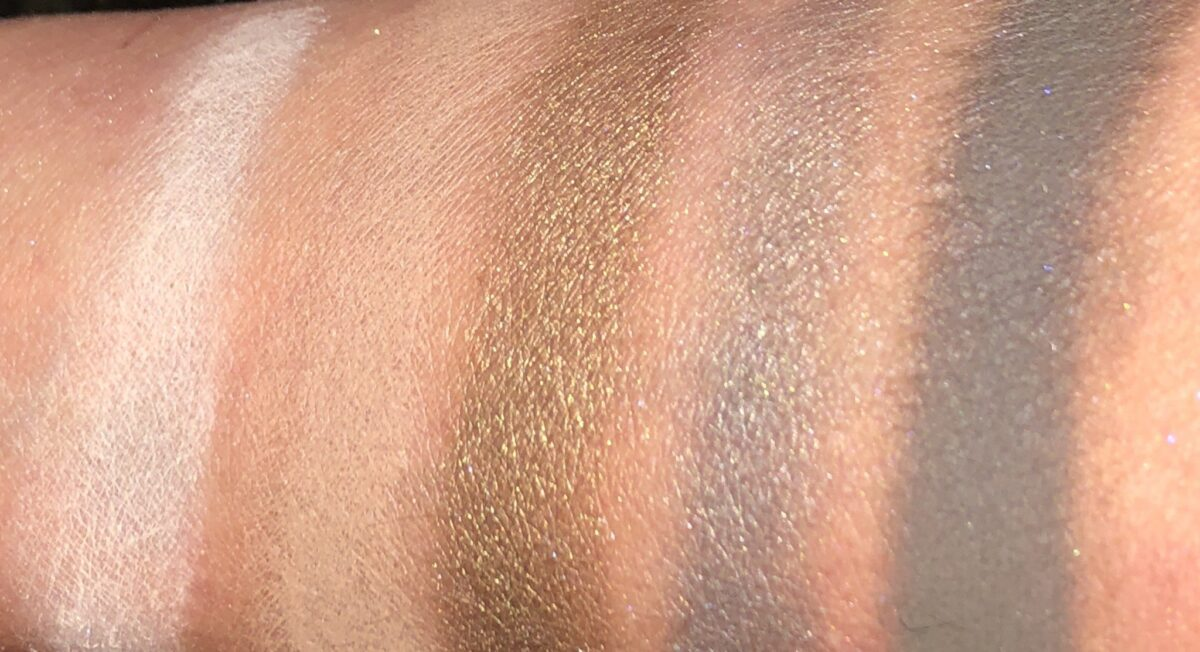 BOBBI BROWN AUTUMN AVENUE EYESHADOW PALETTE LEFT TO RIGHT SWATCHES: BONE, NUDE BARK, GOLDEN SAGE, NIGHT FALL, AND BLACKENED OLIVE
