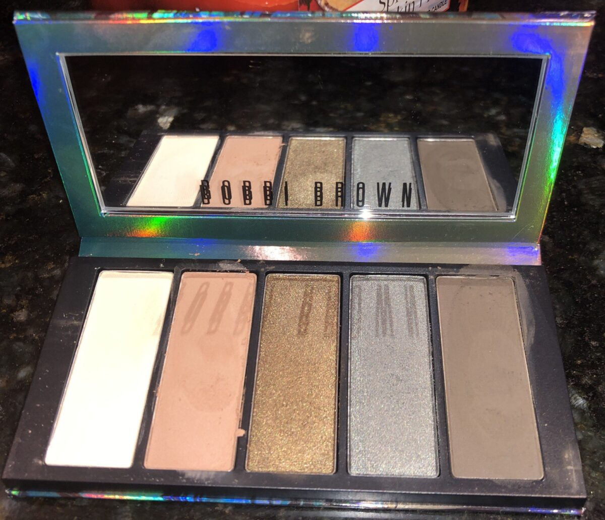 BOBBI BROWN AUTUMN AVENUE SHADES RIGHT TO LEFT: BONE, NUDE BARK, GOLDEN SAGE, NIGHT FALL, AND BLACKENED OLIVE