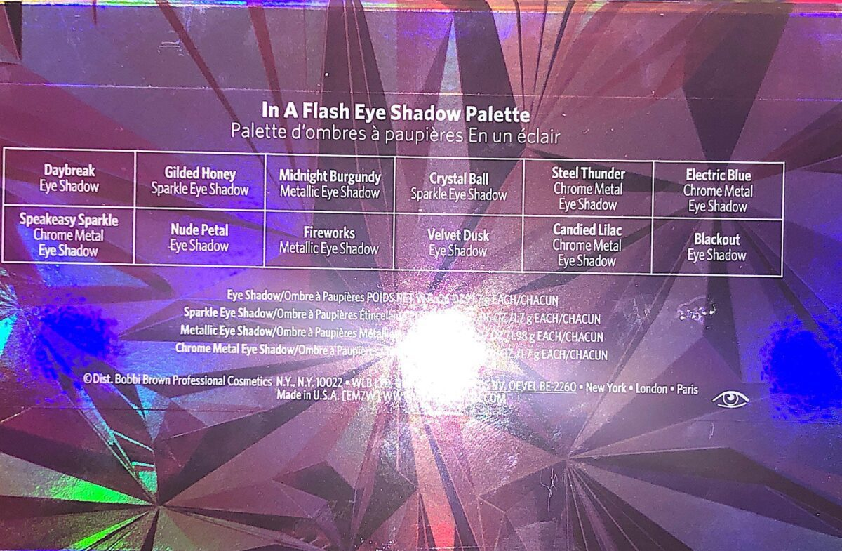 "THE BACK OF THE BOBBI BROWN EYESHADOW PALETTE ""IN THE FLESH""HAS THE SHADE NAMES"
