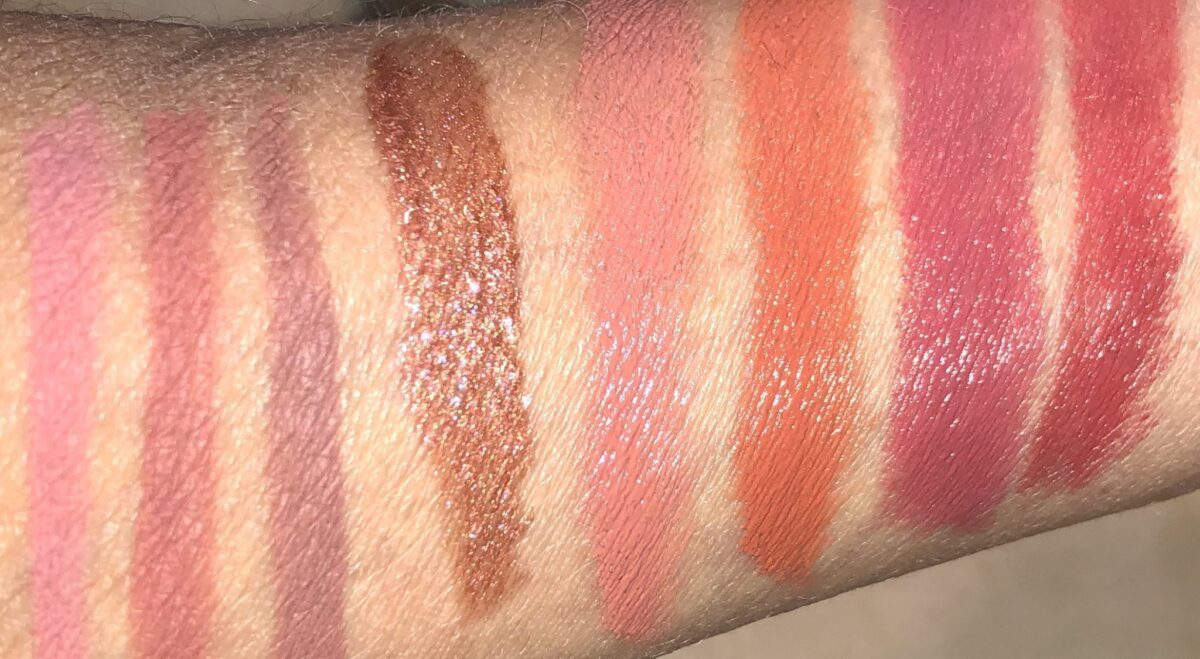 L TO R: LIP LINERS IN MAUVE, NATURAL BERRY, AND SEPIA, HIGH SHINE LIP GLOSS IN CHRYSANTHEMUM, AND LIPSTICKS IN LOTUS, ORCHID, CARNATION AND ZINNIA