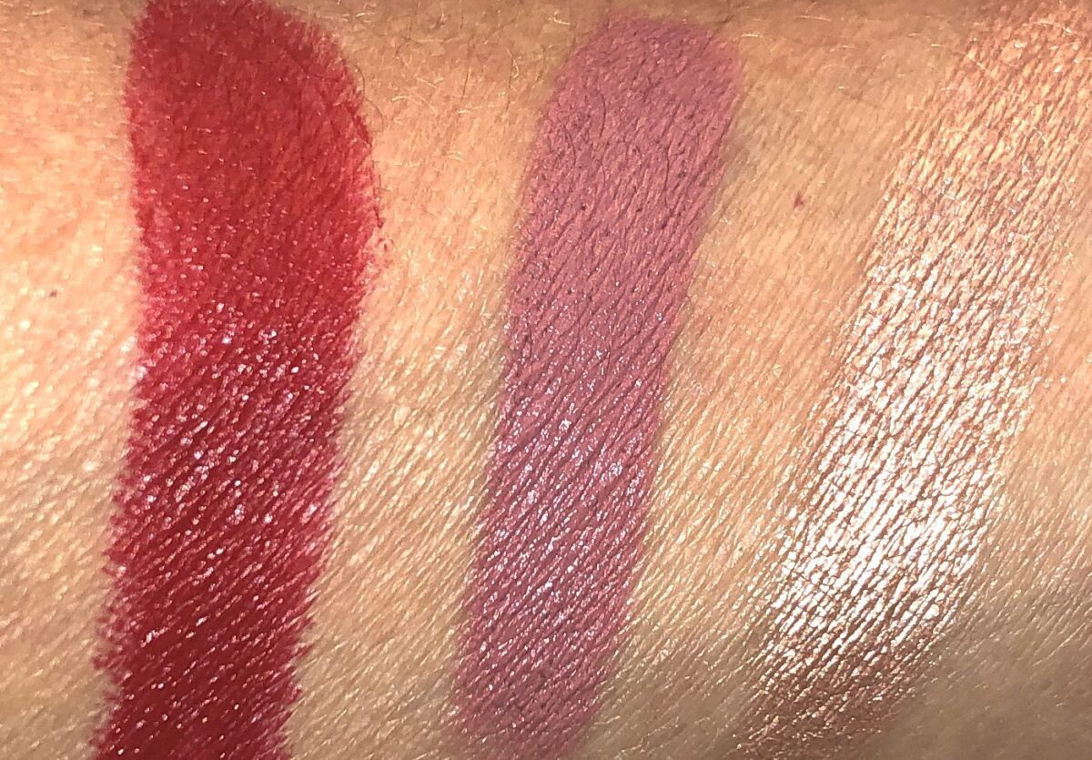 L TO R: ELSON LIPSTICK, OMI LIPSTICK, CHAMPAGNE GOLD HIGHLIGHTER SWATCHES