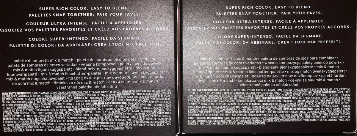 THE INGREDIENTS FOR FENTY SNAP SHADOWS PALETTES 3 AND 5