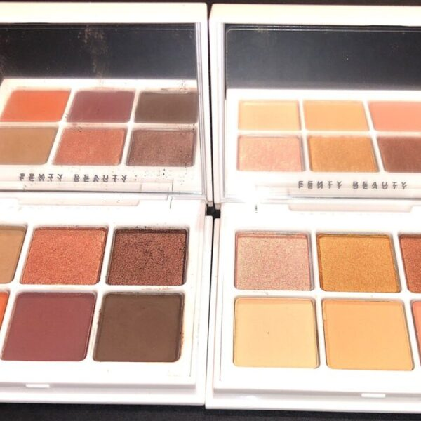 FENTY SNAP SHADOWS PALETTES 3 AND 5 HAVE LARGE MIRRORS AND EACH HAS SIX PANS OF SHADOWS