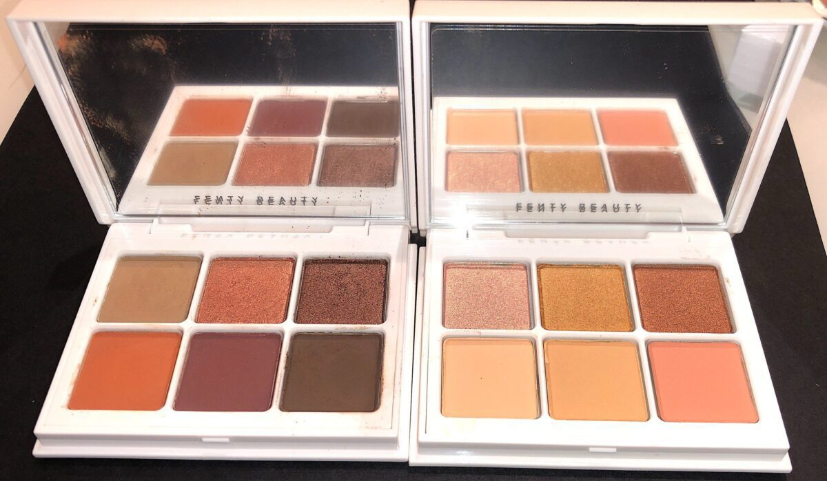 THE DEEP NEUTRALS PALETTE #3 ON THE LEFT AND THE PEACH PALETTE #5 ON THE RIGHT