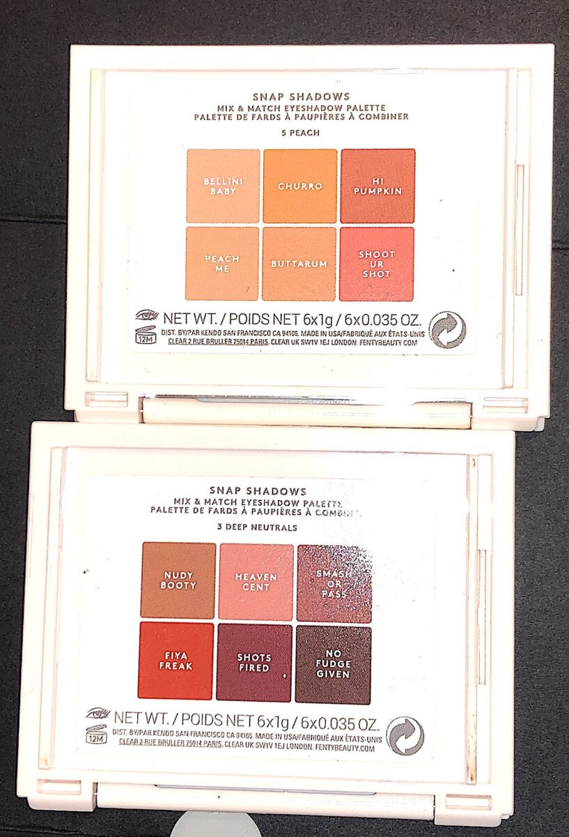 THE BACKS OF THE COMPACTS WITH THE SHADE NAMES AND THEIR LOCATION IN THE PALETTE