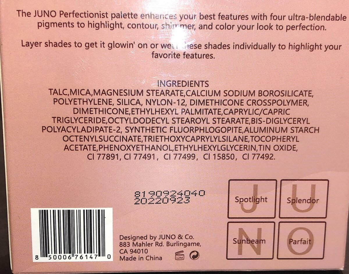 THE BACK OF THE OUTER BOX FOR THE BOMBSHELL PERFECTIONIST SCULPTING PALETTE