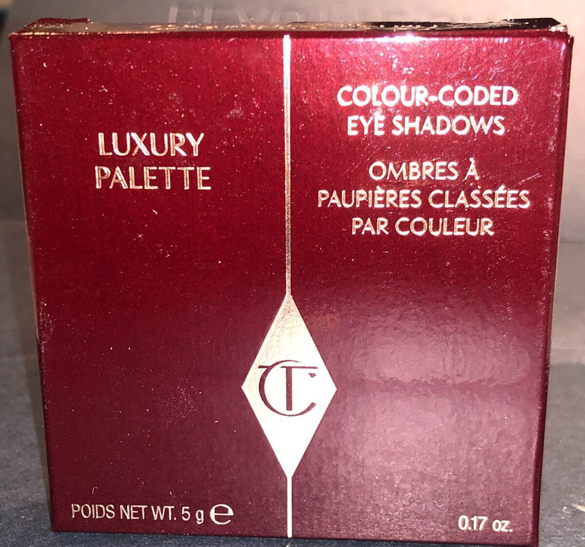 THE FRONT OF THE NEW CHARLOTTE TILBURY QUADS OUTER PACKAGING BOX