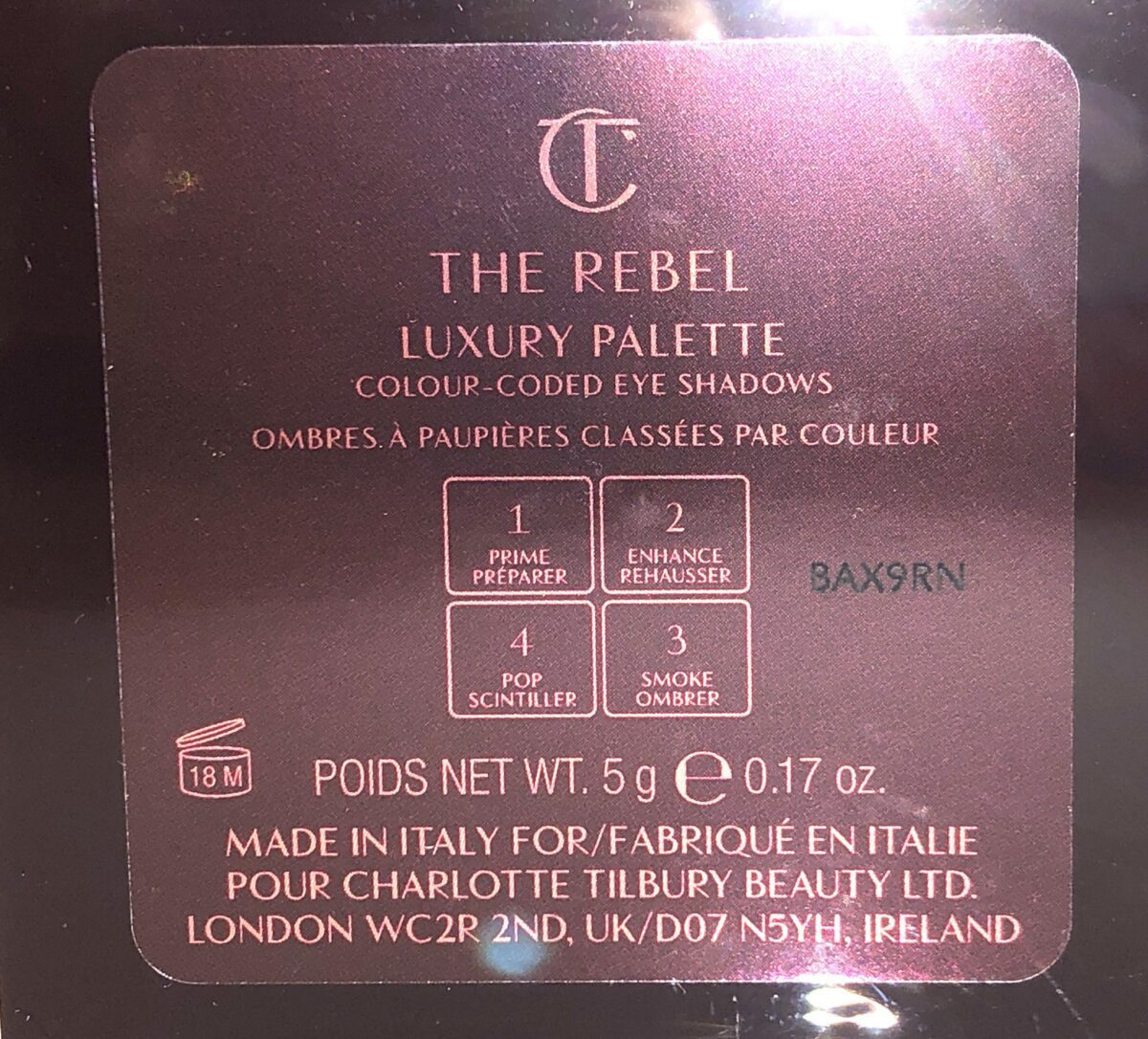THE BACK OF THE REBEL PALETTE