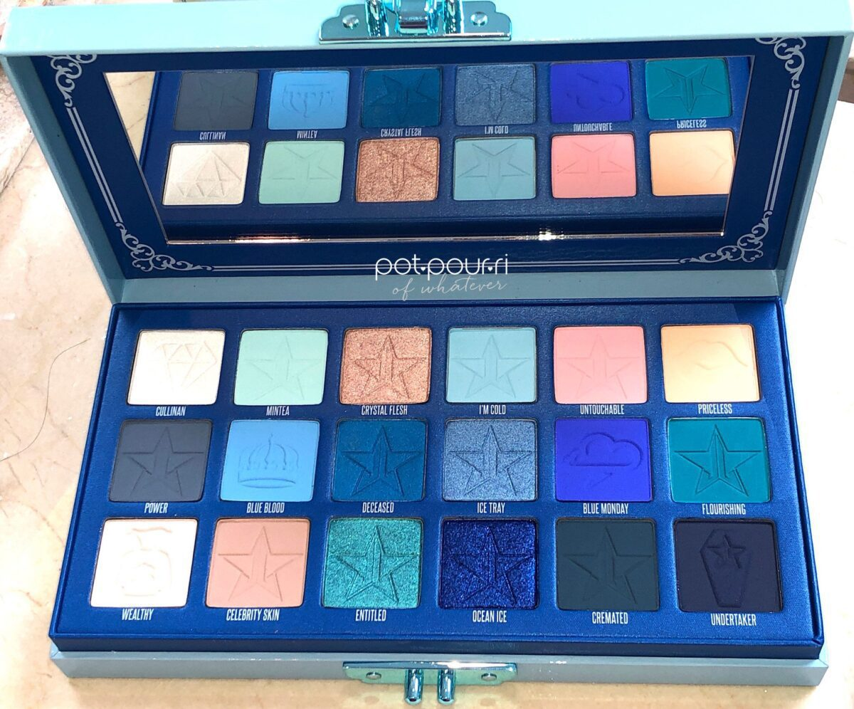 INSIDE THE JEFFREE STAR BLUE BLOOD EYESHADOW PALETTE